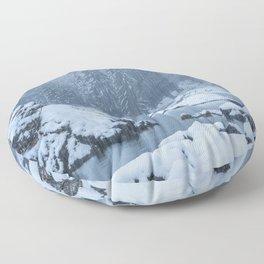 Heavy snow fall lake Fusine, Italy Floor Pillow