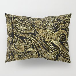 Black and gold ethnic paisley pattern Pillow Sham