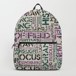 Photography Terms Word Pattern Backpack