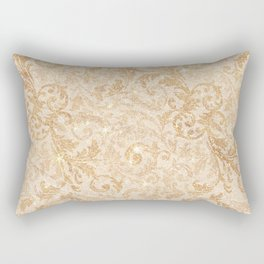 Elegant vintage faux gold glitter antique floral damask Rectangular Pillow