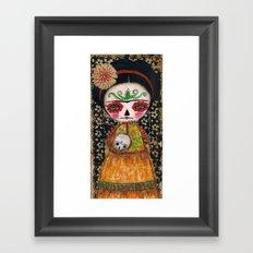 Frida The Catrina And The Skull - Dia De Los Muertos Mixed Media Art Framed Art Print