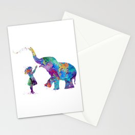 Girl And Elephant Colorful Watercolor Kids Art Stationery Cards