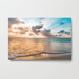 sunset sky over ocean - beach with sunset sky horizon Metal Print