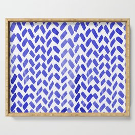 Cute watercolor knitting pattern - blue Serving Tray