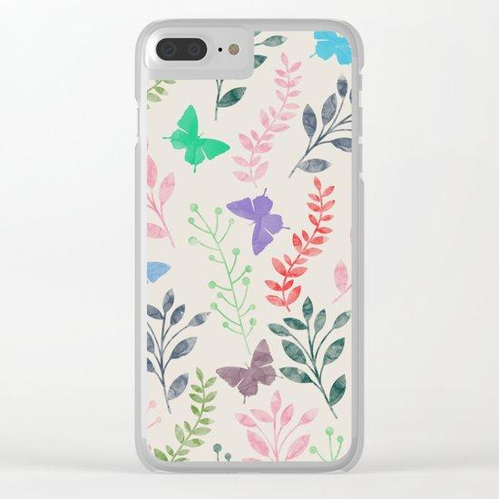 Watercolor flowers & butterflies Clear iPhone Case