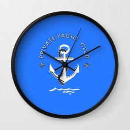 Private Yacht Club Logo Wall Clock