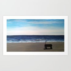 wagon on the beach Art Print