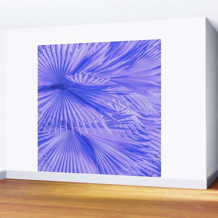 Living Room Accent Wall Tropical Palm Art: Lilac Purple Tropical Palm Leaves With Blue Accents Wall