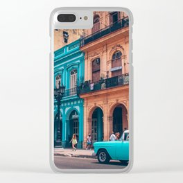 Vintage Cuban colorful building and cars Clear iPhone Case