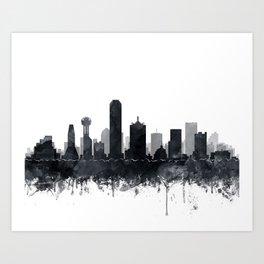 Dallas Skyline Black White Watercolor by Zouzounio Art Art Print