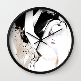 Beauty portrait, Woman slave handcuffs, Nude art, Black and white, Fashion painting Wall Clock
