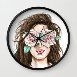 white roses in their eyes (female version) Wall Clock