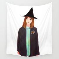 hermione Wall Tapestries featuring Hermione Granger by Lenas 9th Art