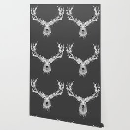 Deer with magnificent antlers and lavish ornamentation Wallpaper