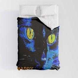 Black Cat Portrait with Happy Halloween Greeting  Comforters