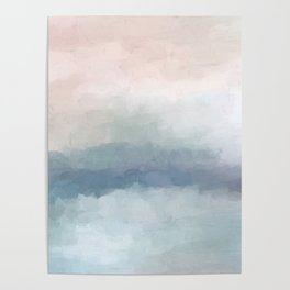 Blush Pink Mint Sky Baby Blue Abstract Ocean Sky Sunrise Wall Art Water Clouds Painting Print Poster