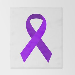 Purple Awareness Support Ribbon Throw Blanket