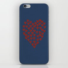 Hearts Heart Red on Navy Tex iPhone Skin