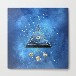 Magic Eye Blue Universe Metal Print