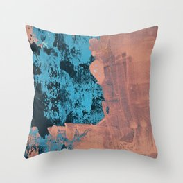Delight [4] in pink: a pretty minimal abstract piece in blues and pink by Alyssa Hamilton Art Throw Pillow