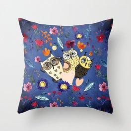 3 Wise Owls in Flower Garden at Night Throw Pillow