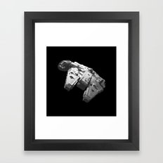 Millennium Falcon Black and White Framed Art Print
