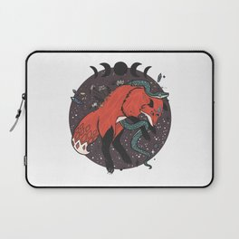 Jumping Fox With Snake, Gemstones, Moon Phases, And Witch Design Elements Laptop Sleeve
