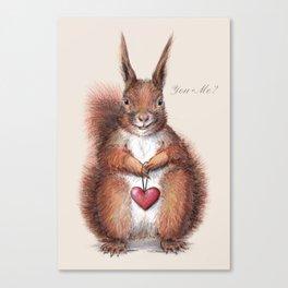 Squirrel heart love Canvas Print
