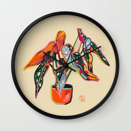 COLOURFUL BEGONIA PLANT  Wall Clock