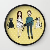 family Wall Clocks featuring Family by Marta Li