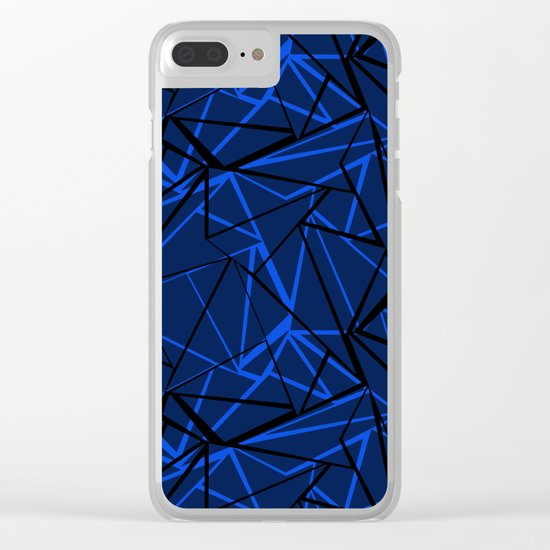 Abstract Black and blue geometric pattern . Clear iPhone Case