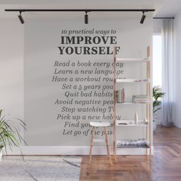 Improve yourself, motivational list for good habits, workout, daily routine, set life goals Wall Mural