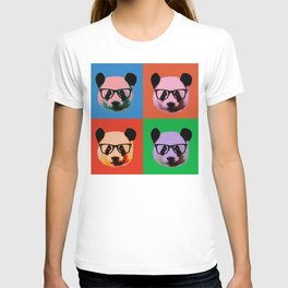 Panda with glasses in 4 Colors T-shirt