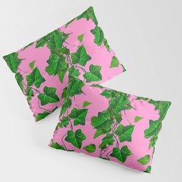 GREEN IVY HANGING LEAVES & VINES ON PINK Pillow Sham