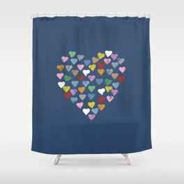 Distressed Hearts Heart Navy Shower Curtain