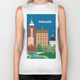 Indianapolis, Indiana - Skyline Illustration by Loose Petals Biker Tank