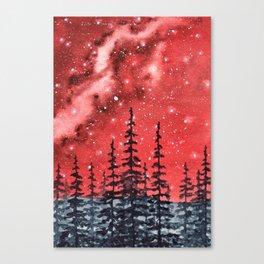 """Red Milky Way"" Galaxy watercolor illustration Canvas Print"