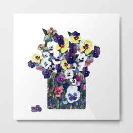 A pot of pansies Metal Print