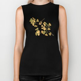 Bird in Ginkgo Tree Biker Tank