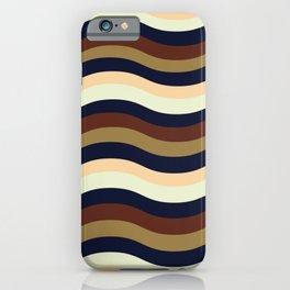 Navy Blue, Gold, Espresso, Buttermilk and Rum Wavy Lines iPhone Case