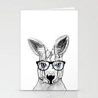 kangaroo Stationery Cards featuring kangaroo by  Steve Wade (Swade)