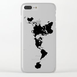 Dymaxion World Map (Fuller Projection Map) - Minimalist Black on White Clear iPhone Case