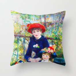 Two Sisters On the Terrace Painting Pierre Auguste Renoir French Impressionism Art Print Throw Pillow