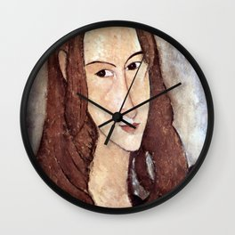 Amedeo Modigliani - Portrait of Jeanne Hébuterne in profile Wall Clock