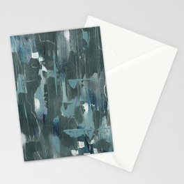 Blue and Green Abstract Acrylic Painting Stationery Cards