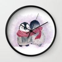 cuddle Wall Clocks featuring Penguin cuddle by Petra van Berkum