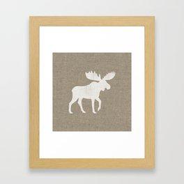 White Moose Silhouette Framed Art Print