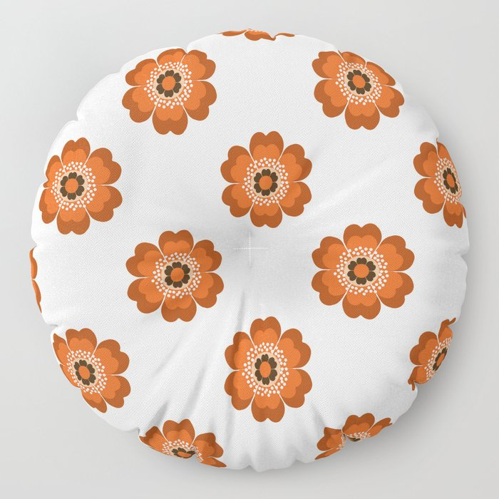 Retro floral flowers pattern minimal 70s style pattern print 1970's Floor Pillow