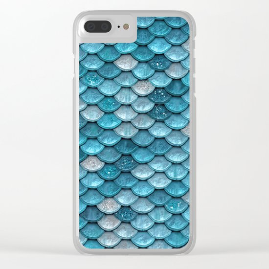 Luxury turquoise mermaid sparkling glitter scales - Mermaidscales Clear iPhone Case