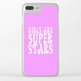 Girls Are Super Stars - Pink Clear iPhone Case